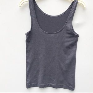 LULULEMON ribbed stretch grey tank top 6 scoop